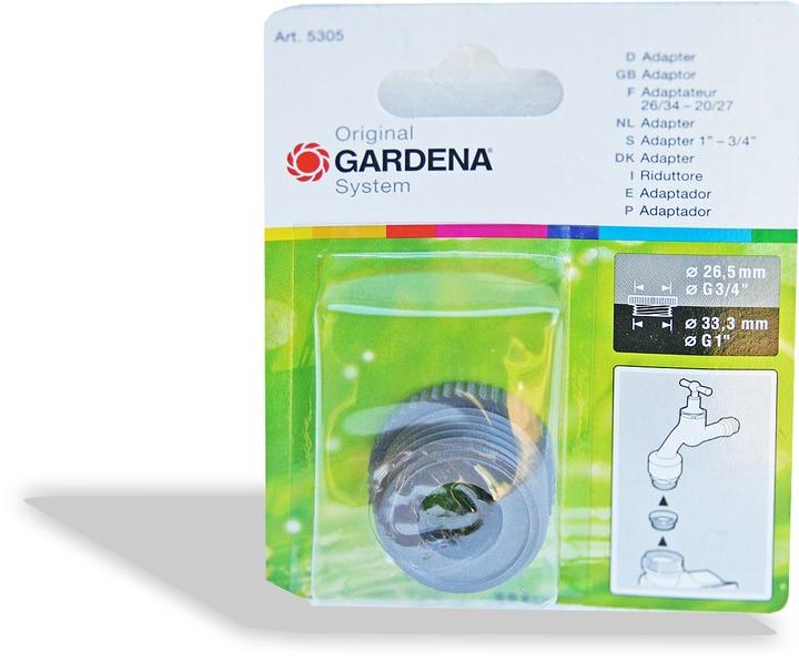 """Gardena Messing Reduzier-Gewindenippel G 1/"""" Außengewinde G 3//4/"""".. 07265-20"""